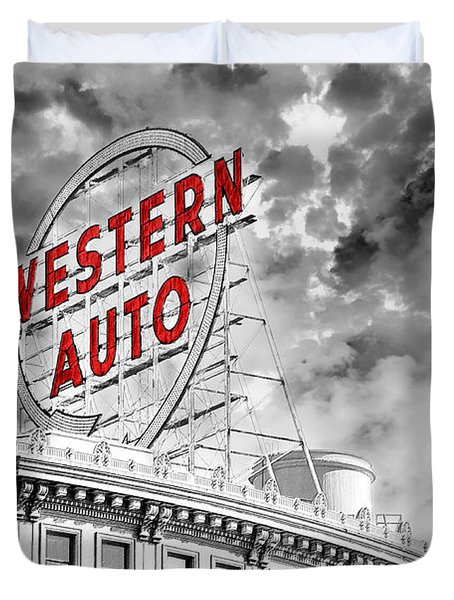 Western Auto Sign Downtown Kansas City B W Duvet Cover