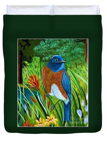 Western Bluebird Duvet Cover by Jennifer Lake