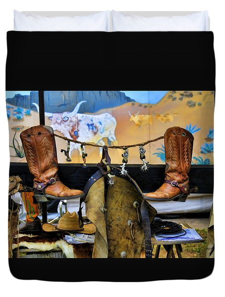 Duvet Cover featuring the photograph Western Gear by Kenny Francis