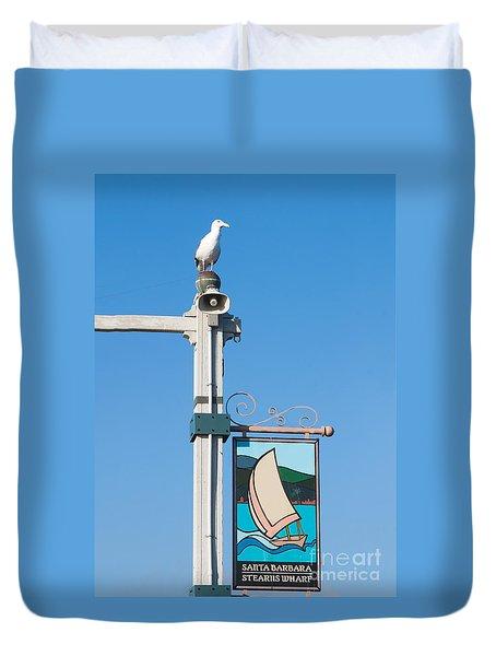 Western Gull - Stearns Wharf Santa Barbara California Duvet Cover