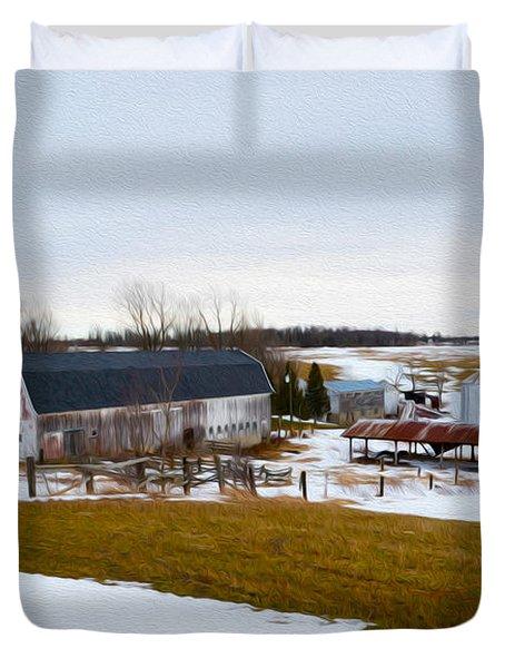 Western New York Farm As An Oil Painting Duvet Cover