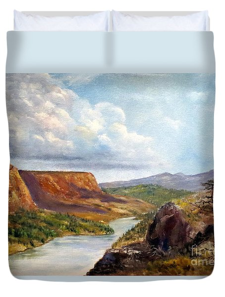 Western River Canyon Duvet Cover by Lee Piper