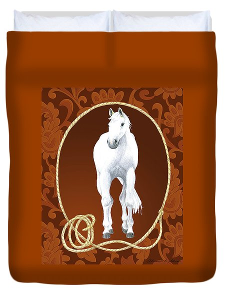 Western Roundup Standing Horse Duvet Cover