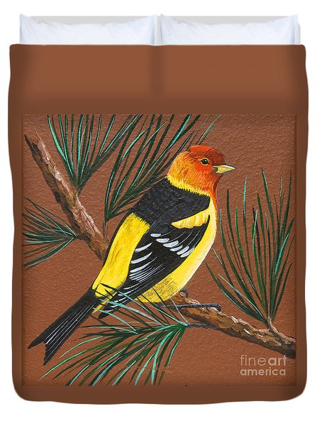 Duvet Cover featuring the painting Western Tanager by Jennifer Lake