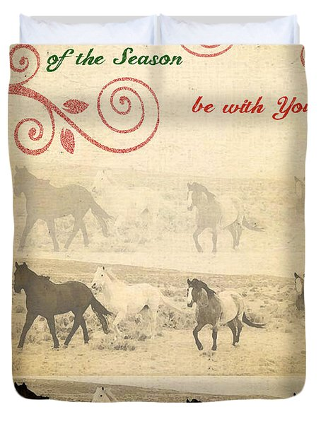 Western Themed Christmas Card Wyoming Spirit Duvet Cover