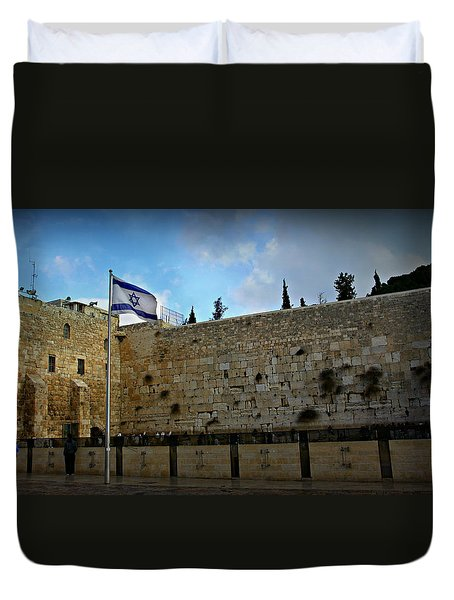 Western Wall And Israeli Flag Duvet Cover by Stephen Stookey
