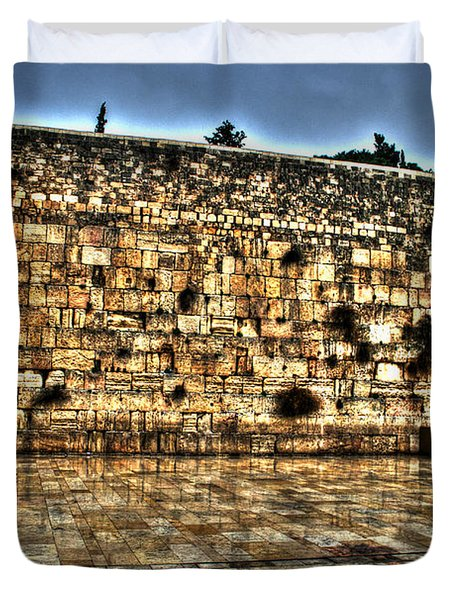 Duvet Cover featuring the photograph Western Wall In Israel by Doc Braham