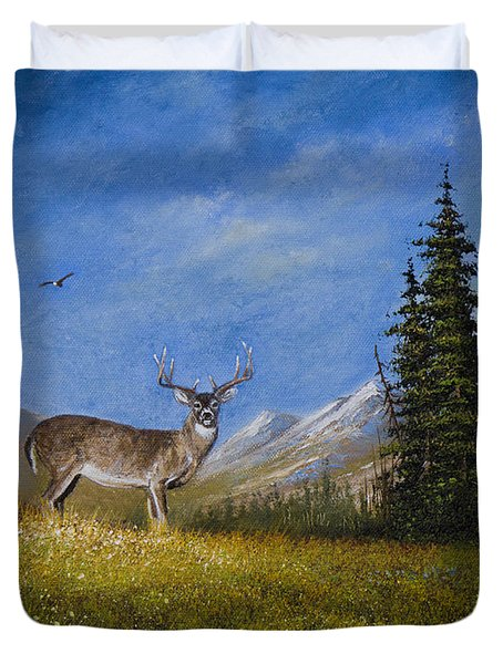 Western Whitetail Duvet Cover by C Steele