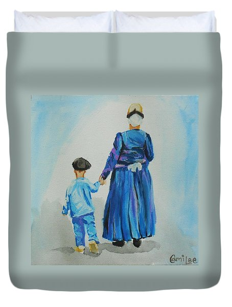 Westfriese Woman And Boy Duvet Cover
