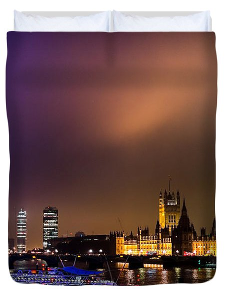 Duvet Cover featuring the photograph Westminster And Eye Night Glow by Matt Malloy