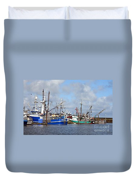 Westport Fishing Boats 2 Duvet Cover by Chalet Roome-Rigdon