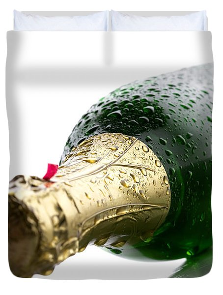 Wet Champagne Bottle Duvet Cover