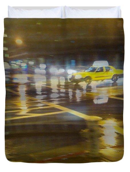 Duvet Cover featuring the photograph Wet Pavement by Alex Lapidus