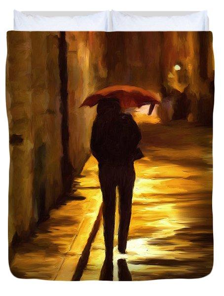 Wet Rainy Night Duvet Cover by Michael Pickett