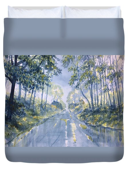 Wet Road In Woldgate Duvet Cover