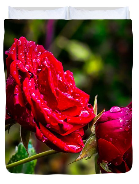 Duvet Cover featuring the photograph Wet Rose by Leif Sohlman