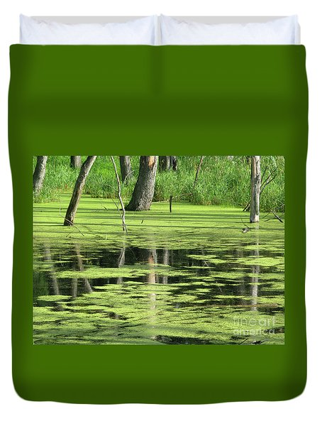 Duvet Cover featuring the photograph Wetland Reflection by Ann Horn