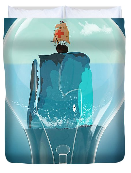 Whale Lights  Duvet Cover by Mark Ashkenazi