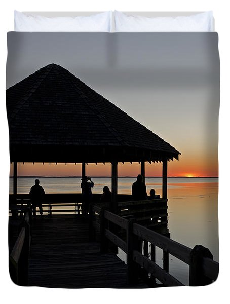 Duvet Cover featuring the photograph Whalehead Sunset Obx by Greg Reed