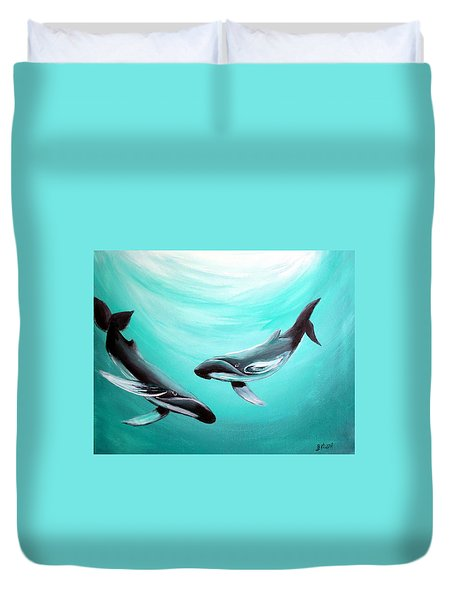 Duvet Cover featuring the painting Whales by Bernadette Krupa