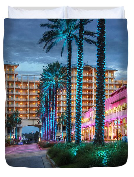 Duvet Cover featuring the photograph Wharf Blue Lighted Trees by Michael Thomas