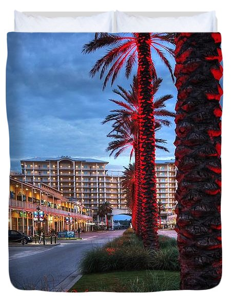 Duvet Cover featuring the digital art Wharf Red Lighted Trees by Michael Thomas