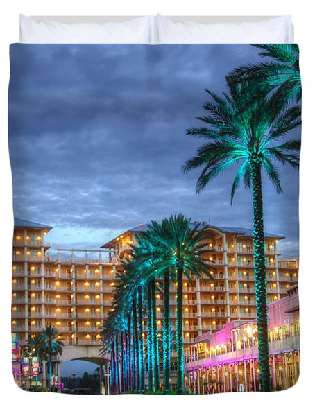 Duvet Cover featuring the digital art Wharf Turquoise Lighted  by Michael Thomas