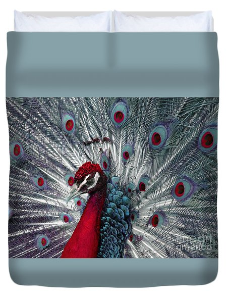What If - A Fanciful Peacock Duvet Cover by Ann Horn