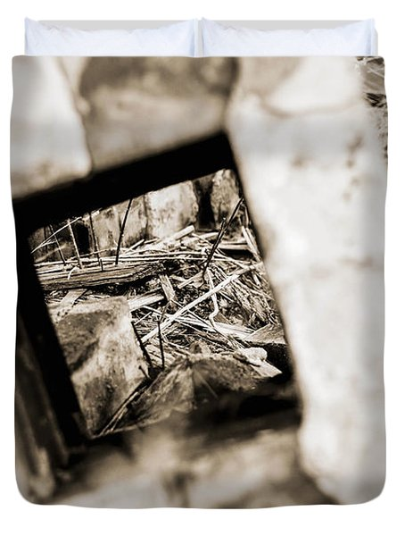 Duvet Cover featuring the photograph What Remains by Amber Kresge