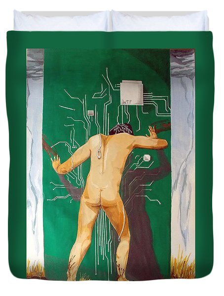 What The Fuck  Duvet Cover by Lazaro Hurtado
