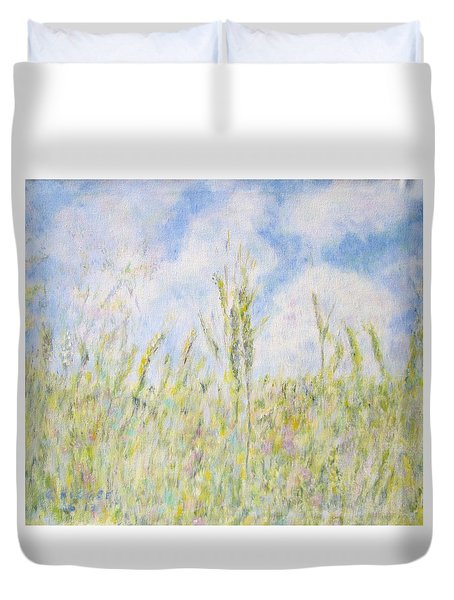 Wheat Field And Wildflowers Duvet Cover