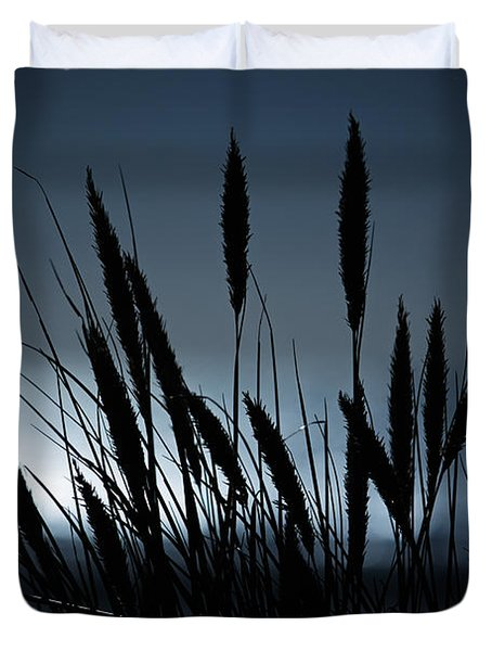 Wheat Stalks On A Dune At Moonlight Duvet Cover