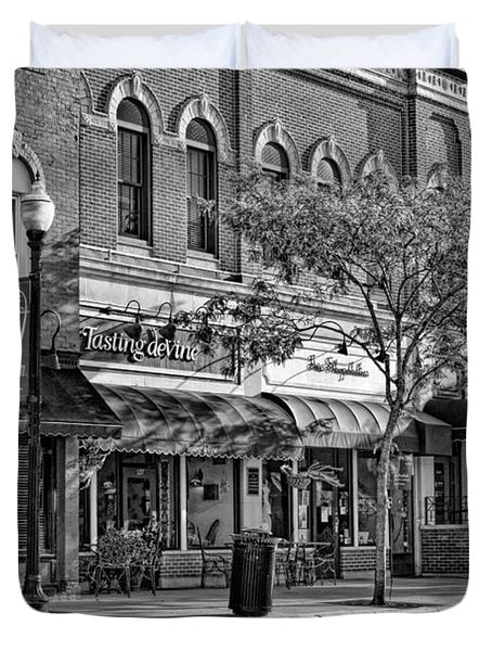 Wheaton Front Street Store Fronts Black And White Duvet Cover