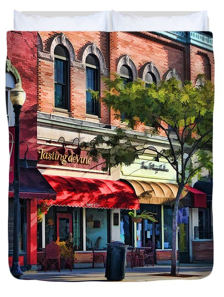 Wheaton Front Street Store Fronts Duvet Cover by Christopher Arndt