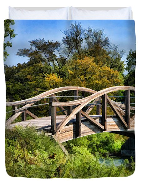 Wheaton Northside Park Bridge Duvet Cover by Christopher Arndt