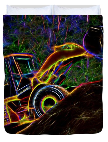 Wheel Loader Moving Dirt - Neon Duvet Cover