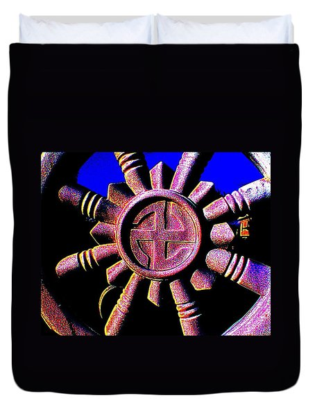 Duvet Cover featuring the photograph Buddhist Dharma Wheel 1 by Peter Gumaer Ogden