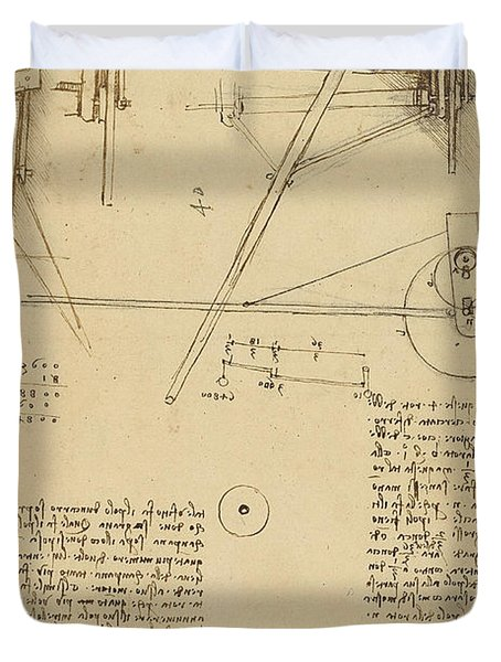 Wheels And Pins System Conceived For Making Smooth Motion Of Carts From Atlantic Codex Duvet Cover by Leonardo Da Vinci