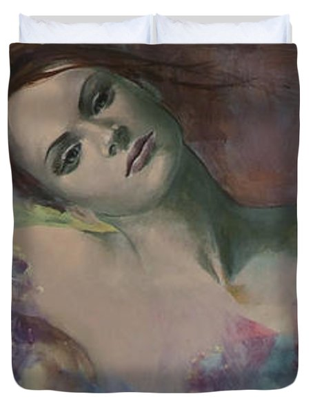 When A Dream Has Colored Wings Duvet Cover by Dorina  Costras