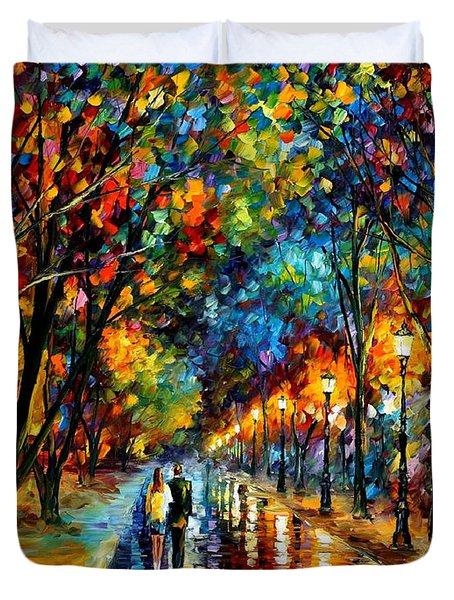 When Dreams Come True - Palette Knlfe Landscape Park Oil Painting On Canvas By Leonid Afremov Duvet Cover