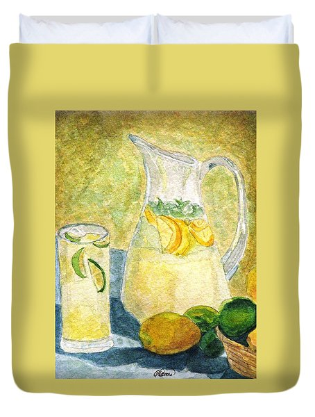 Duvet Cover featuring the painting When Life Gives You Lemons by Angela Davies