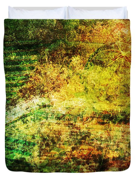 Duvet Cover featuring the mixed media When Past And Present Intersect #1 by Sandy MacGowan