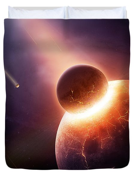 When Planets Collide Duvet Cover