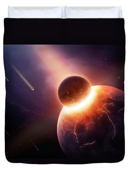 When Planets Collide Duvet Cover by Johan Swanepoel