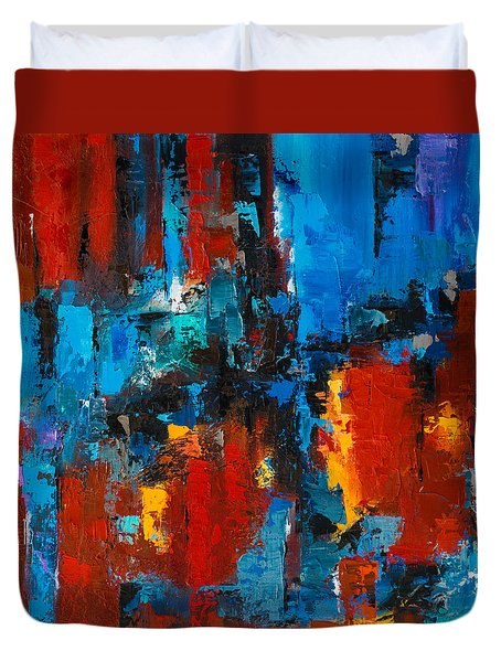 When Red And Blue Meet Duvet Cover by Elise Palmigiani