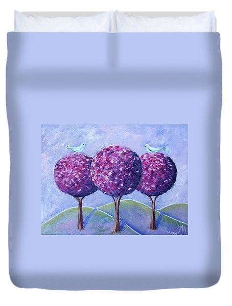 Duvet Cover featuring the painting When The Cherry Trees Are Blooming by Nina Mitkova
