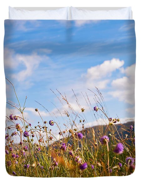 When The Sun Is Shining Everything Around Smiling Towards. Scotland Duvet Cover