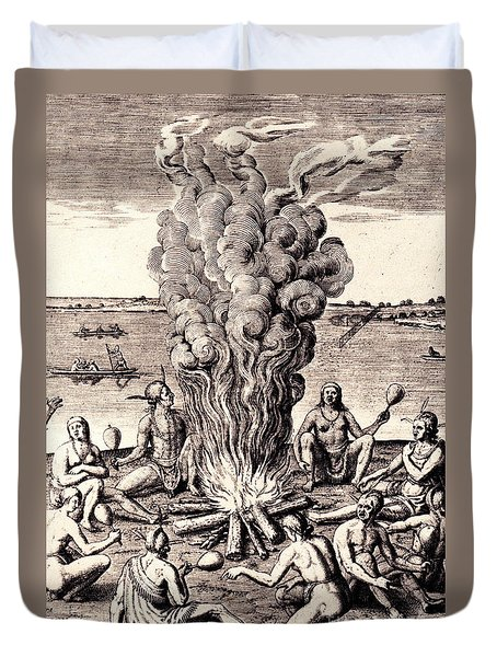 Duvet Cover featuring the drawing When They Returned From The War They Make Merry About The Fire by Peter Gumaer Ogden