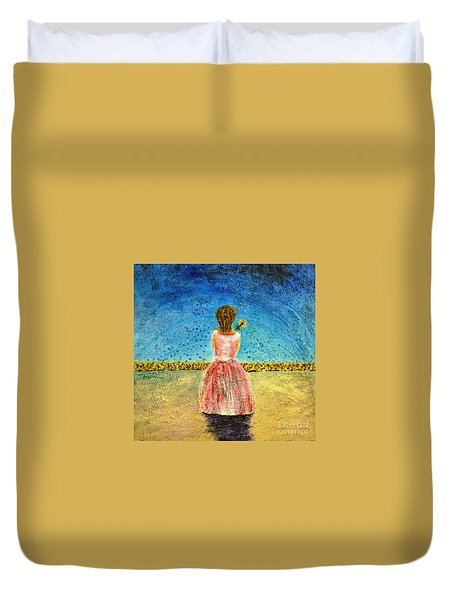 Duvet Cover featuring the painting Where Angels Sleep by Therese Alcorn