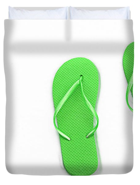 Where On Earth Is Spring - My Green Flip Flops Are Waiting Duvet Cover by Andee Design
